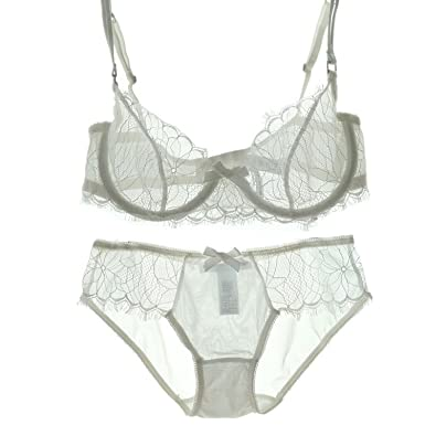 e5ec09ae3c2 Image Unavailable. Image not available for. Color  Sexy Bra and Panty Sets  See Through Bra Transparent Underwear Set Embroidery Lace ...