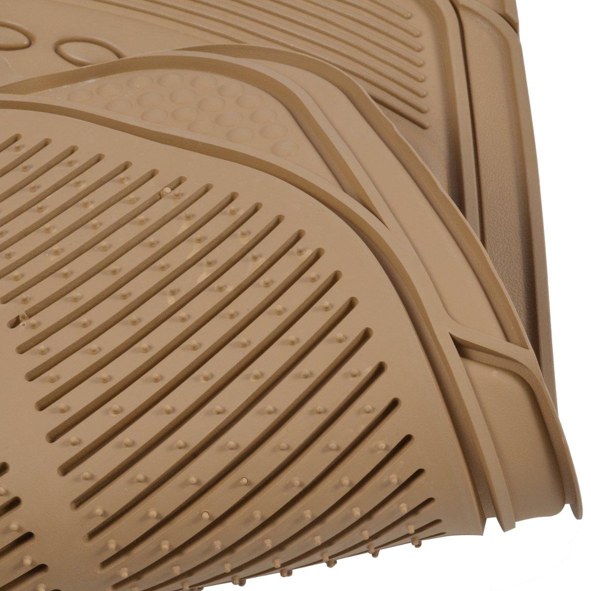 BDK BEIGE 5 Piece All Weather Ridgeline Heavy Duty PVC Rubber Mats w// STRAWBERRY