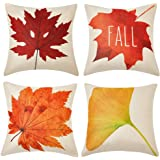 WLNUI Set of 4 Fall Pillow Covers Cotton Linen Maple Ginkgo Leaf Autumn Theme Decorative Throw Pillow Covers for Sofa Couch Farmhouse Decor 18x18 Inch