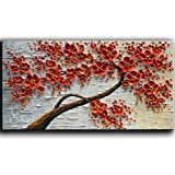 YaSheng Art - hand-painted Oil Painting On Canvas Texture Palette Knife Red Flowers Paintings Modern Home Decor Wall Art Pain
