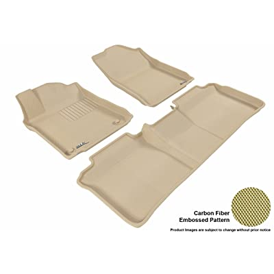 3D MAXpider Complete Set Custom Fit All-Weather Floor Mat for Select Toyota Avalon Models - Kagu Rubber (Tan): Automotive