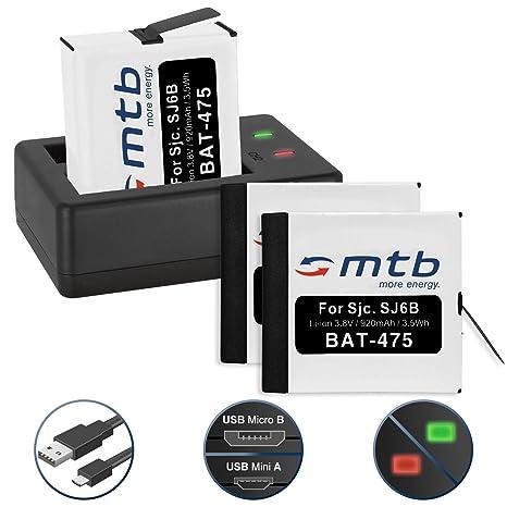 3 Baterías + Cargador doble (USB) para cámara deportiva ...