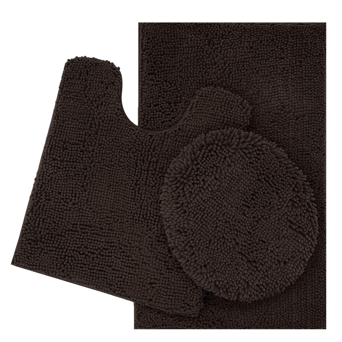 ITSOFT 3pc Non-Slip Shaggy Chenille Bathroom Mat Set, Includes U-Shaped Contour Toilet Mat, Bath Mat and Toilet Lid Cover, Machine Washable, Chocolate Brown