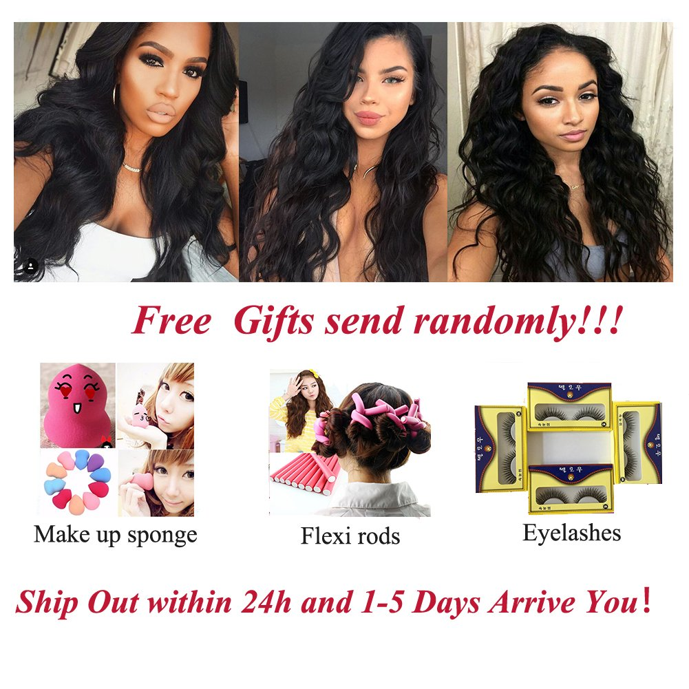 Amella Hair 10A Brazilian Body Wave Frontal(16 18 20+14 Frontal) Bundles with Frontal Ear to Ear Lace Frontal Closure with Bundles Brazilian Body Wave Frontal with Baby Hair Natural Black Color by Amella hair (Image #7)