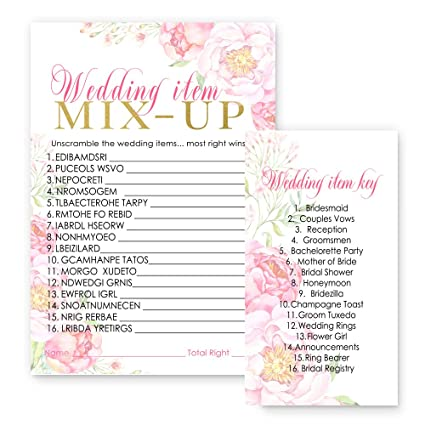 floral bridal shower word scramble game card set of 25