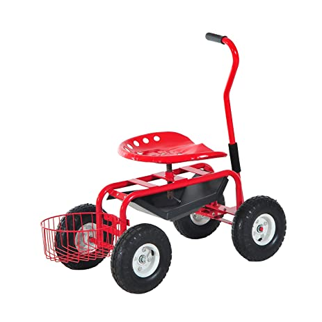 Ordinaire Outsunny Rolling Garden Cart With Bucket Basket   Red
