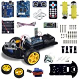 UCTRONICS Bluetooth Robot Car Kit for Arduino with UNO R3, HC-SR04 Ultrasonic Sensor, HC-05 Bluetooth Module, Infrared IR Wireless Remote Controller, L293D Motor Control Shield, Micro Servo Motor 9g