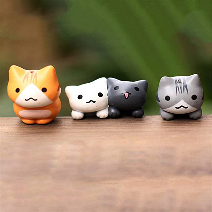 UNKE 6Pcs Cute Miniature Lucky Cats Micro Landscape Kitten Microlandscape Pot Culture Tools Garden Decorations