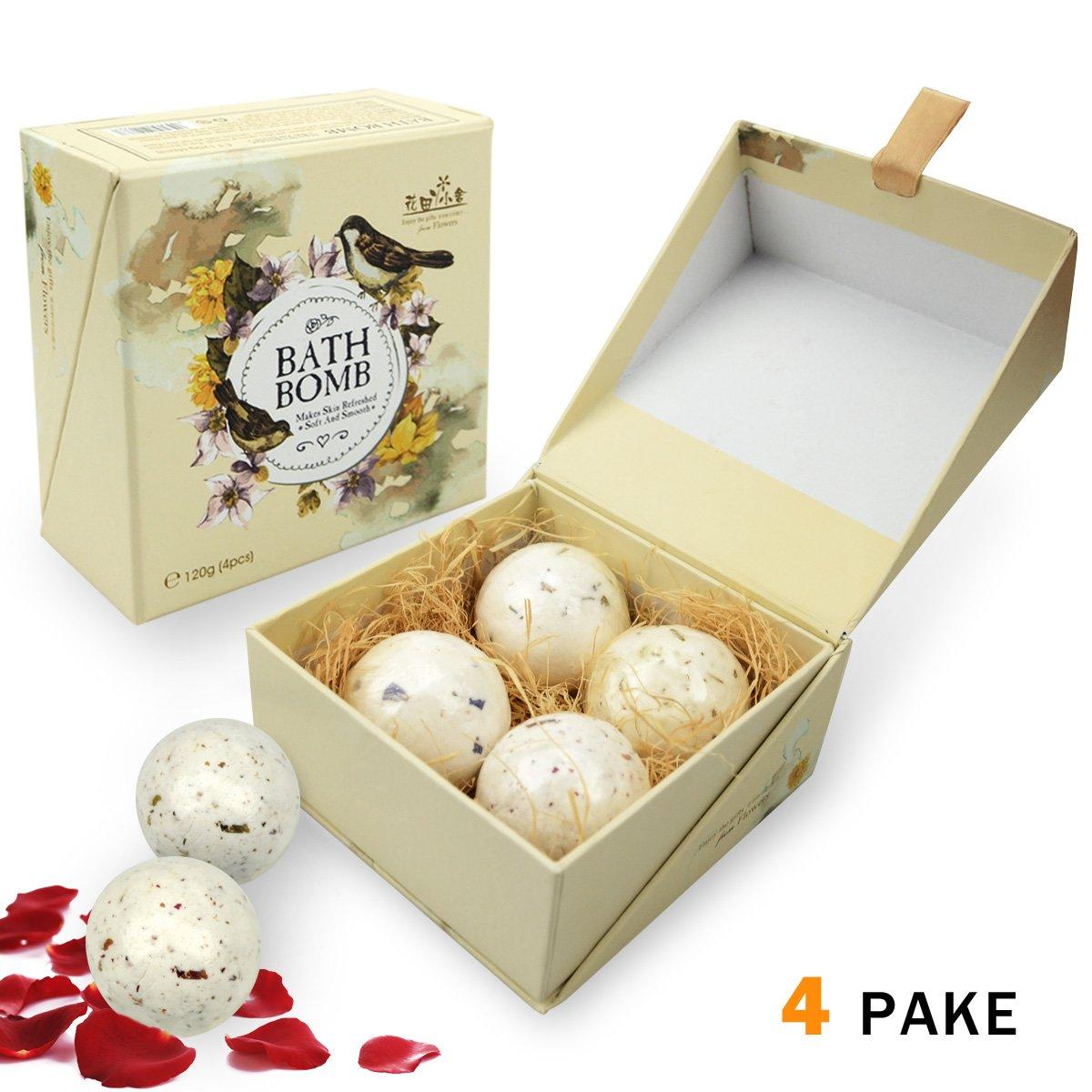 Bestfire bombe da bagno Set regalo kit, 4x 39,7gram sali da bagno Bubble Ball Essential oil Handmade spa bomba da bagno Fizzy migliore regalo ideale per donne uomini bambini