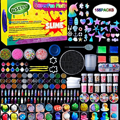 Slime Supplies Kit,155 Pack, Include Jelly Cube, Foam Balls, Glitter Jars, Fruit Flower Animal Slices, Pearls, Slime Tools for DIY Slime Making, Homemade Slime, Girl Slime Party