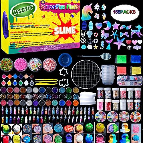 Slime Supplies Kit,155 Pack, Include Jelly Cube, Foam Balls, Glitter Jars, Fruit Flower Animal Slices, Pearls, Slime Tools for DIY Slime Making, Homemade Slime, Girl Slime Party(No Slime) by HSETIY