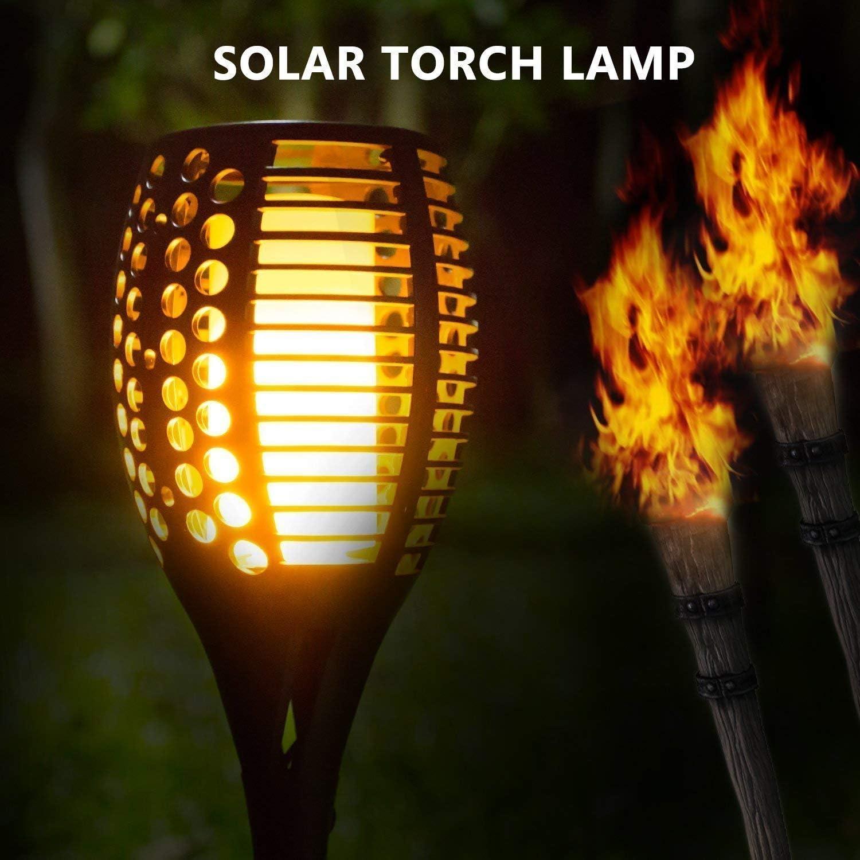 LED Outdoor Fackel Wasserdicht & Solar Gartendeko Flammeneffekt 2 Stück Lot De 2 (Noir)