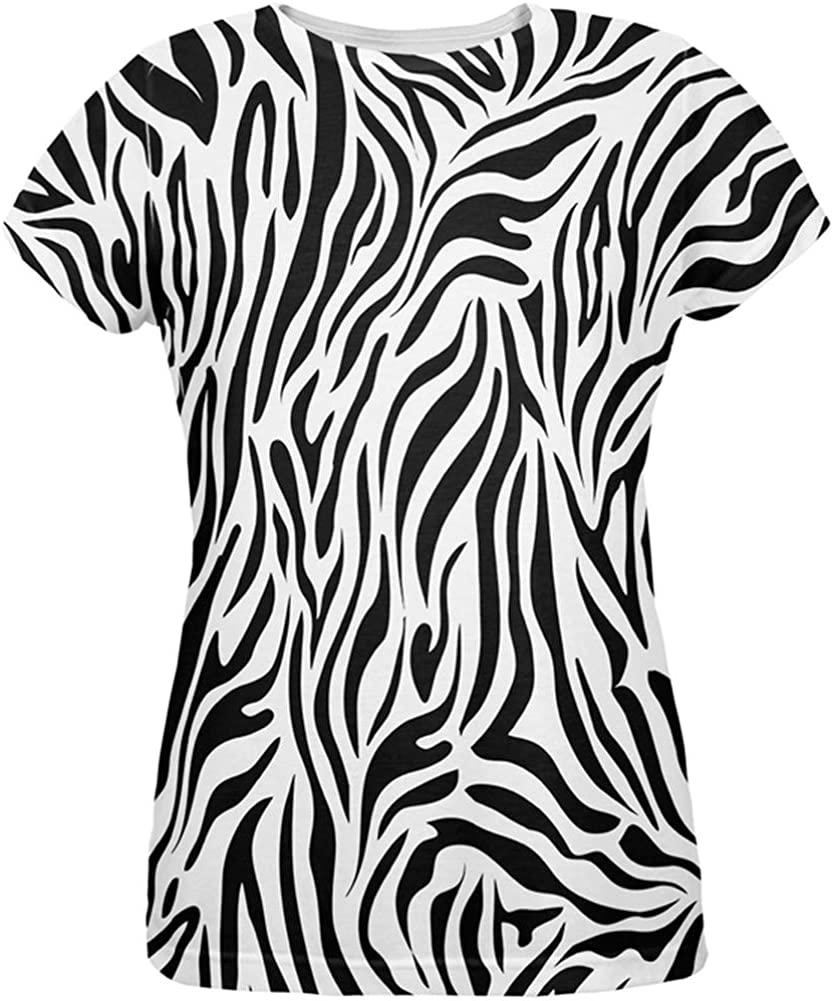 Amazon Com Animal World Zebra Print White All Over Womens T Shirt Small Clothing