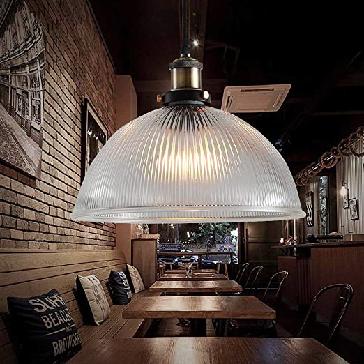 Nostralux Premium Modern Retro Style Glass Ceiling Lamp Shade Industrial Pendant Light Featuring An E27 Pendant Lamp Holder New Edition Large Dome