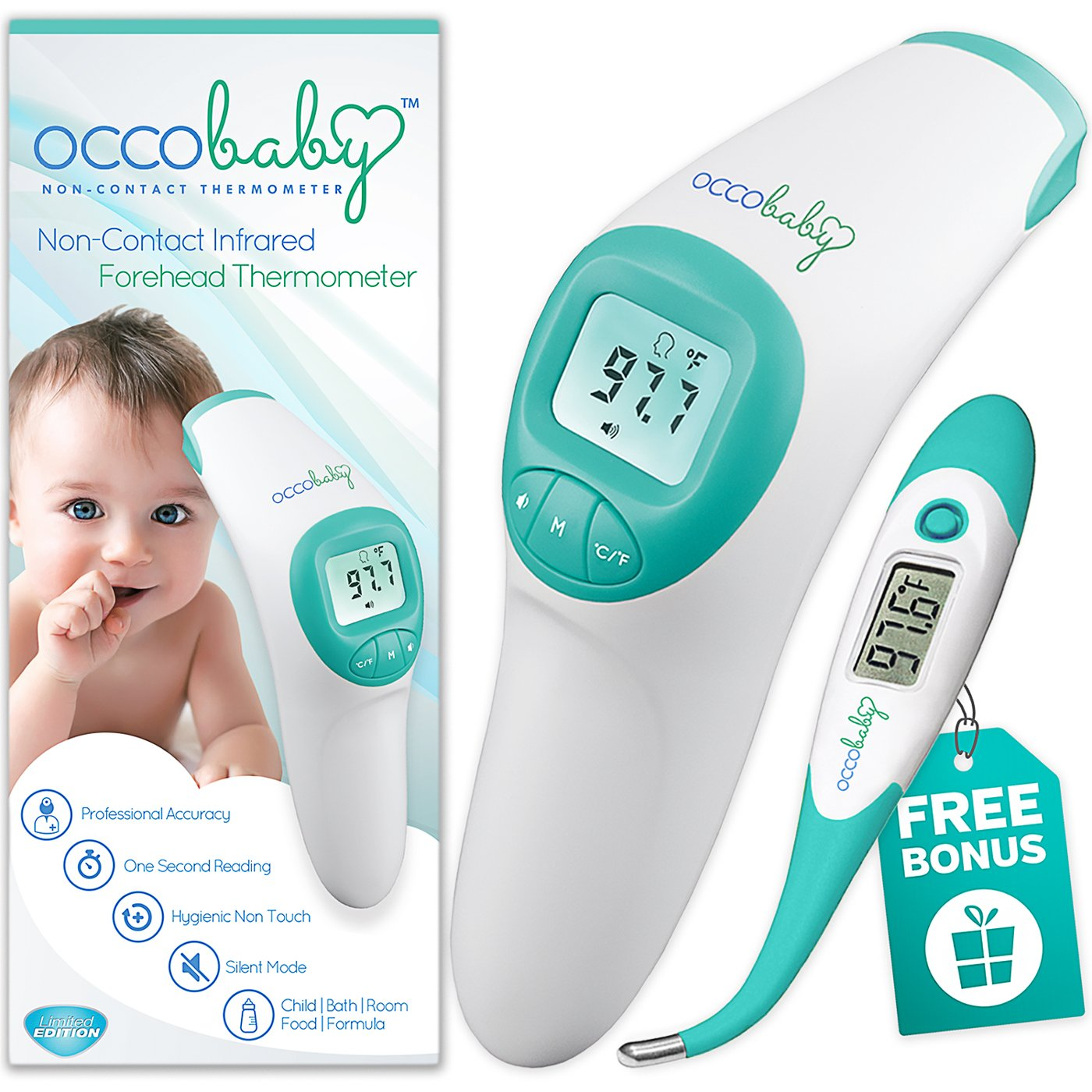 OCCObaby Clinical Forehead Baby Thermometer - Limited Edition with Flexible Tip Waterproof Digital Thermometer for Infants & Toddlers | Instant Read Non-Contact Infrared Scanner by OCCObaby