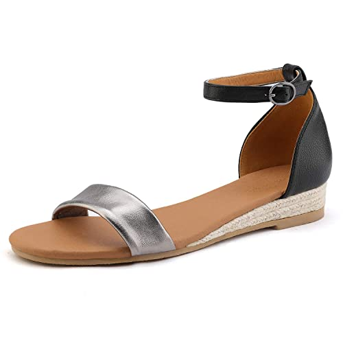 3777fe4ba3707 DREAM PAIRS Women's Pewter Black Ankle Strap Sandals Low Wedge Sandals Size  5 M US Formosa_10