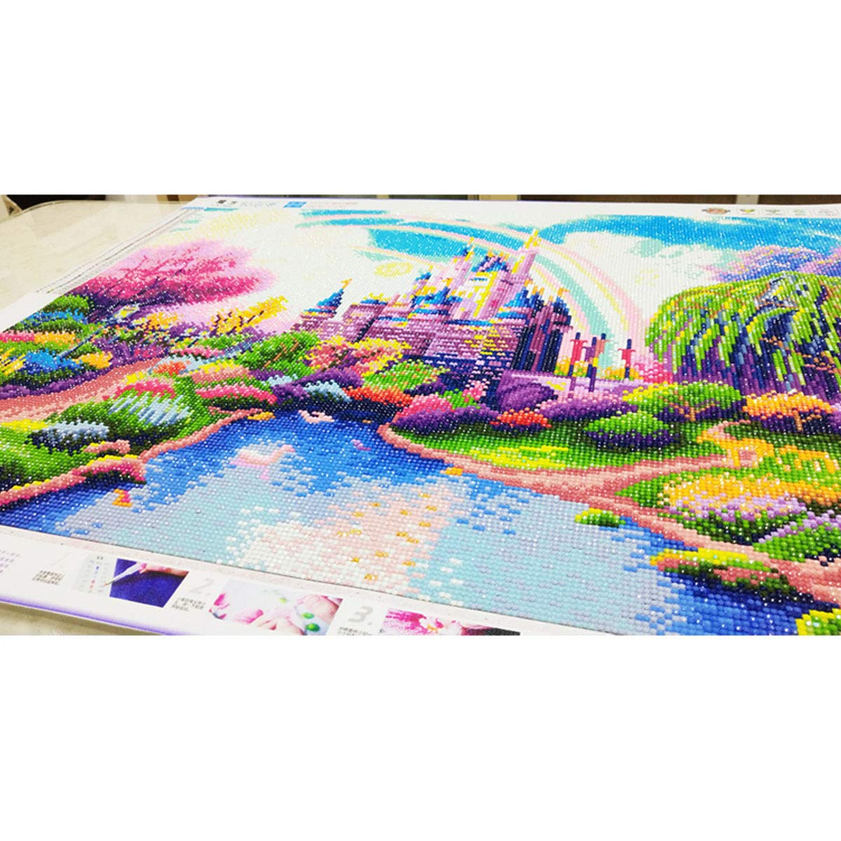 5D DIY Paint-by-Number Kits with Diamonds for Home Wall Decors Rainbow Castle 55x45 cm Diamond Painting Kits for Adults Full Drill 22x18