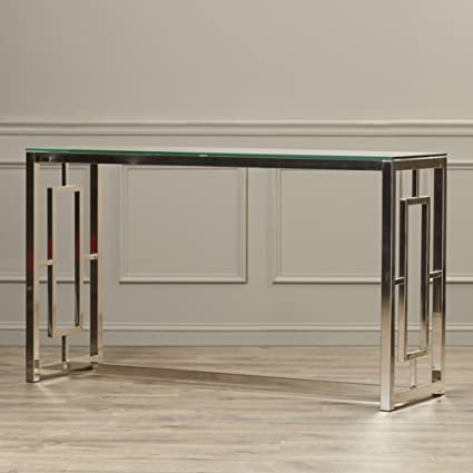 Amazon Contemporary Console Table For Entryway Living Room Hall Glass Top And Modern Satin Metal Base Kitchen Dining