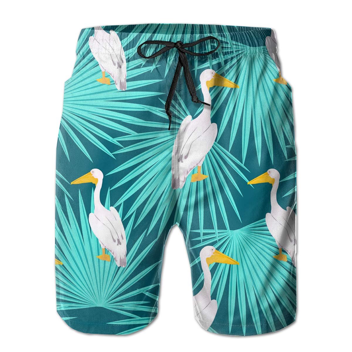 SARA NELL Mens Swim Trunks Hawaii Hawaiian Pink Pelican Palm Tree Tropical Surfing Beach Board Shorts Swimwear