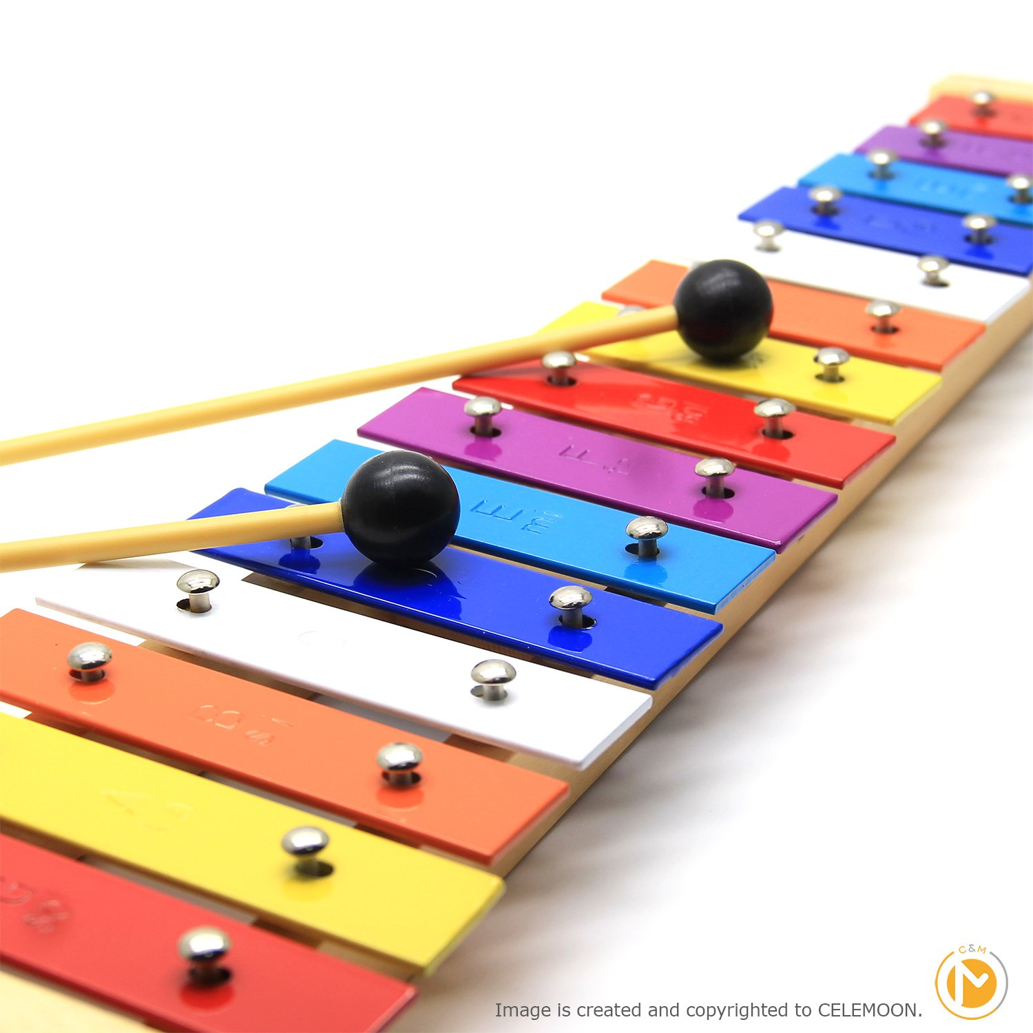 CELEMOON Natural Wooden Toddler Xylophone Glockenspiel For Kids with Multi-Colored Metal Bars Included Two Sets of Child-Safe Wooden Mallets (15-tone) by CELEMOON (Image #4)