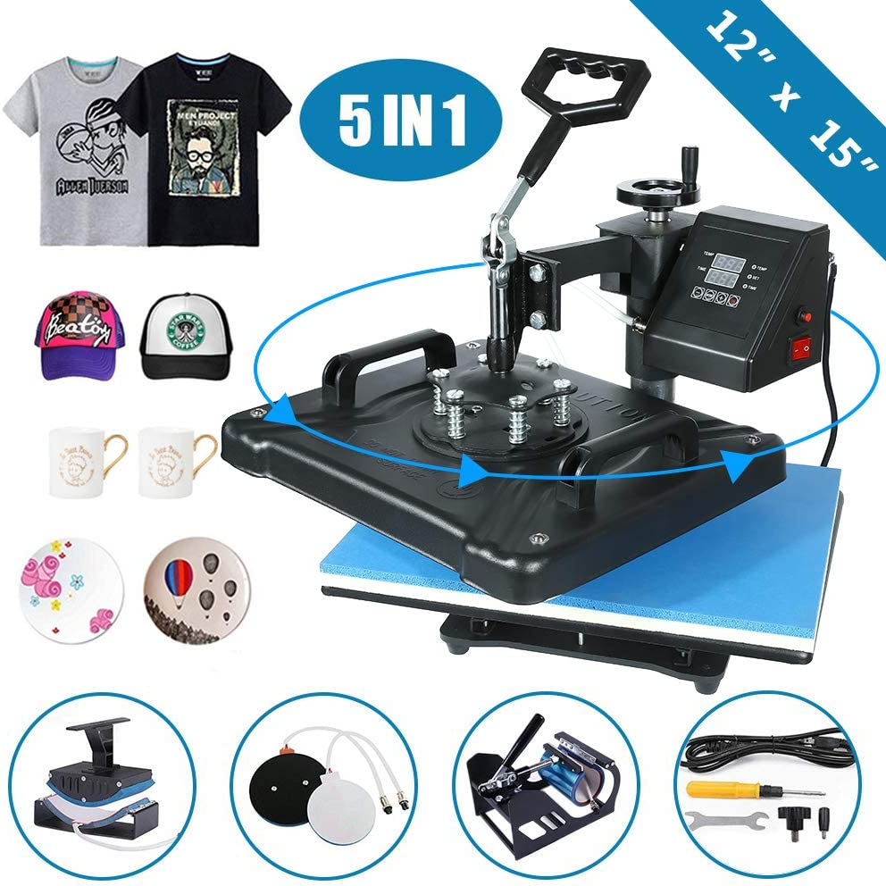 "5 in 1 Heat Press Machine 12""x 15"" inch Professional Digital Transfer Sublimation Swing-Away for Hat Mug Plate Cap T-Shirt (12""x 15"" (5 in 1) Swing Away)"