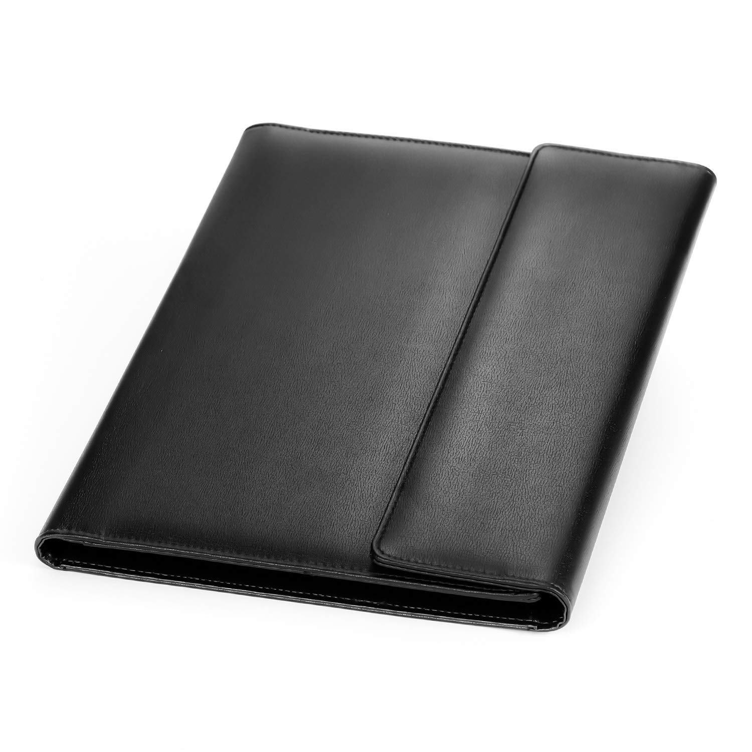 Portfolio/Professional Padfolio, AHGXG Document Holder Business Clipboard Folder Executive Leather Padfolio, Resume Folder for Interview with Legal Pad, Black