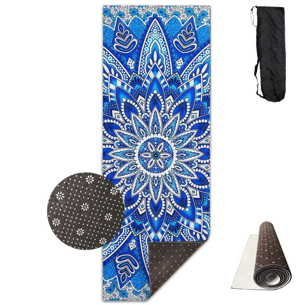 bluee Crystal Flower Yoga Mat, Premium Yoga Mat, NonSlip Backing  Lightweight and Durable Yoga Mat for Exercise, Yoga, and Pilates 72x24 Inch