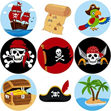 Pirate Perforated Roll Stickers for Kids 200Pcs Birthday Party Favor Decoration