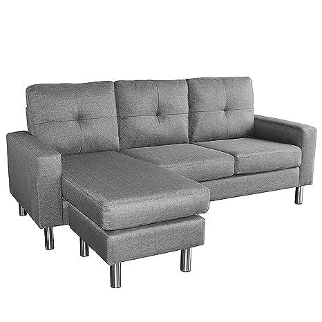 Linen Corner Sofa Lounge Couch Modular Furniture L Chair Home Chaise ...