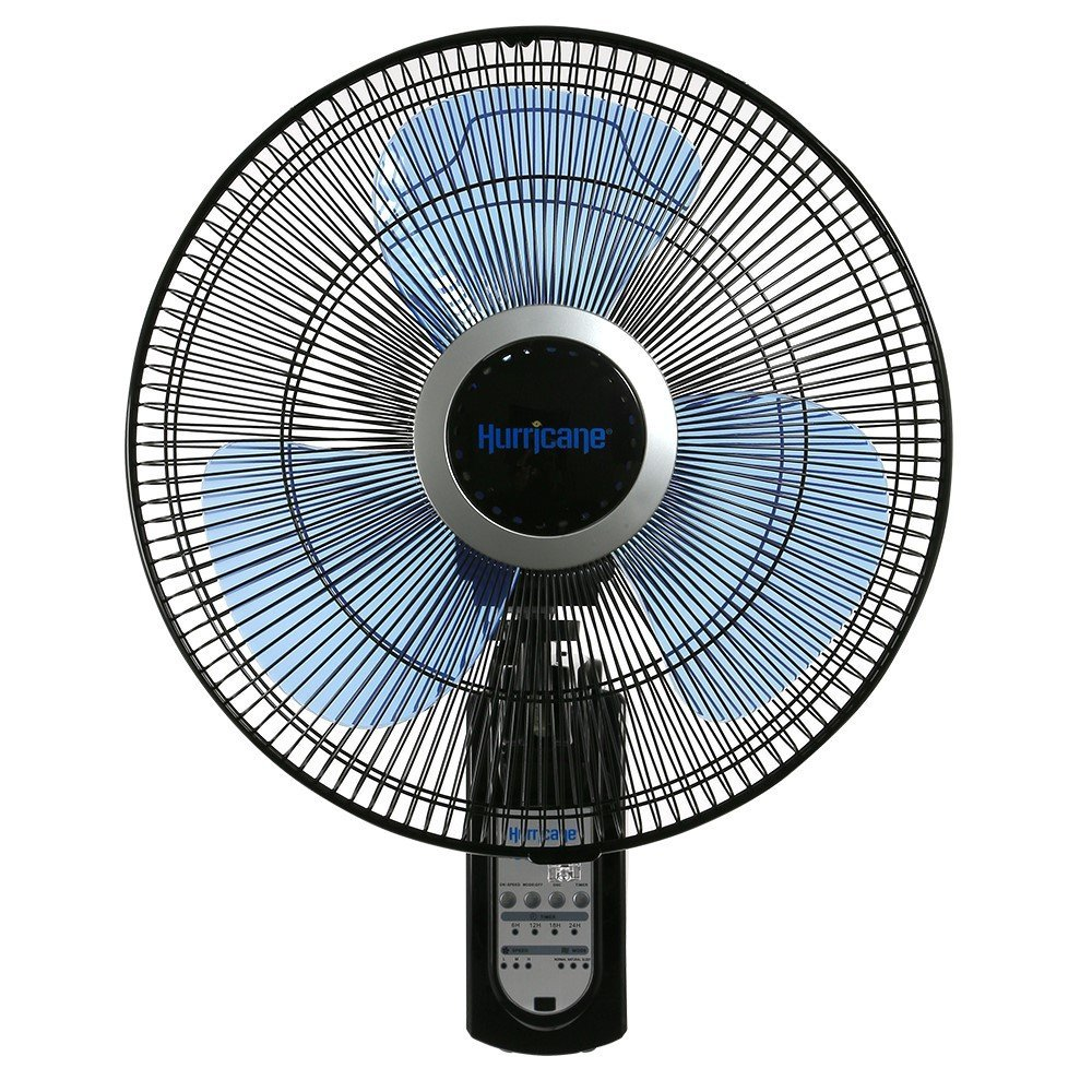 Hurricane Wall Mount Fan - 16 Inch | Super 8 | Wall Fan Figure 8 Pattern Technology, Remote Control Included, 3 Speed Settings, 3 Oscillating Settings - ETL Listed, Black