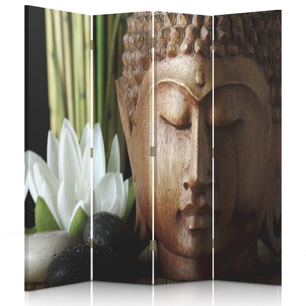Il paravento stampato su telo,il divisorio decorativo per locali, unilaterale, a 3 parti (110x150 cm), BUDDHA, CULTURA, FIORE, MARRONE, ZEN Feeby Frames