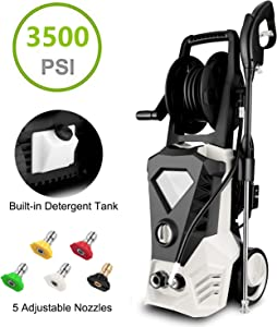 Electric Pressure Washer 3500PSI 2.6GPM High Pressure Washer 1800W Cleaner Machine with Power Hose Gun & 5 Interchangeable Nozzles (White)