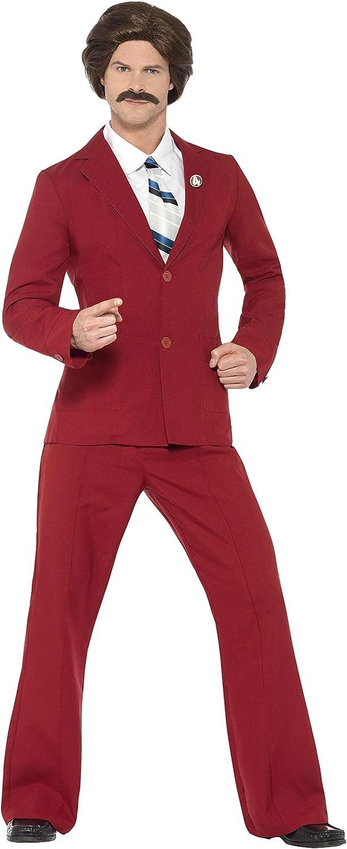 Smiffys - Disfraz del reportero Ron Borgoña con bigote, camisa y lazo (20501M)