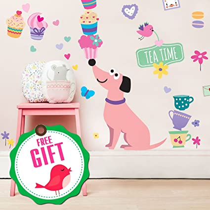 Dog Wall Decals For Girls   Cupcake Cute Pink Decor Stickers For Kids [u003e45