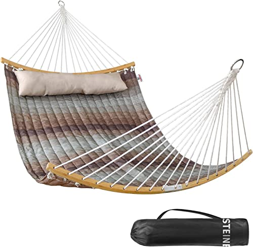 Double Hammock Indoor and Outdoor Hammock w/Foldable Bar Detachable Pillow