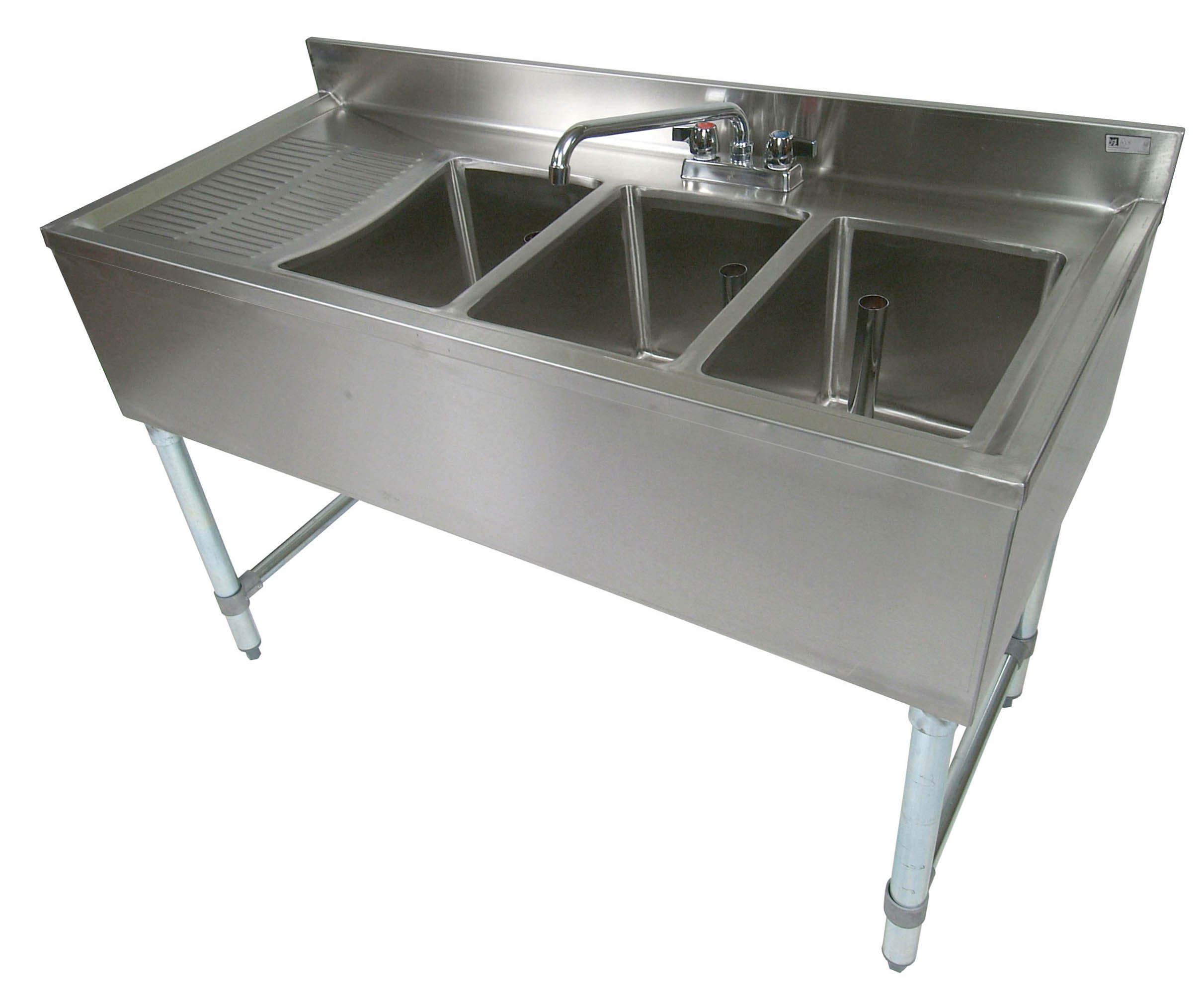 John Boos EUB3S48-1LD Stainless Steel Bar Sink, 3 Compartments, 48'' Length x 21'' Width, Left Hand Side Drain Board