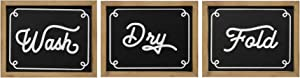 "Stratton Home Décor Stratton Home Set of 3 Wash Dry Fold Wall Decor, 8.00"" W X 0.75"" D X 10.00"" H, Black, White"