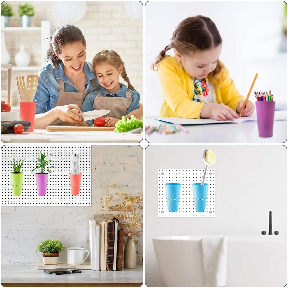 Pegboard Bins with Rings PegBoard Hooks with Cups Pegboard Accesorries for Organizing Storage,Library Workbench Store School Basement 5 Sets,5 Colors