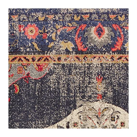 "Amazon Brand – Rivet Distressed Color Medallion Rug, 2'6"" x 8', Navy - Pile: 100% Polypropylene, Backing: 100% Jute Imported Inspired by traditional Persian textiles, this eye-catching design features a color-splashed, faded, all-over medallion pattern. Durable, machine-woven synthetic fibers keep this rug looking fresh and feeling soft to the touch, even in high-traffic spaces. - runner-rugs, entryway-furniture-decor, entryway-laundry-room - 71M9pBQzlCL. SS570  -"