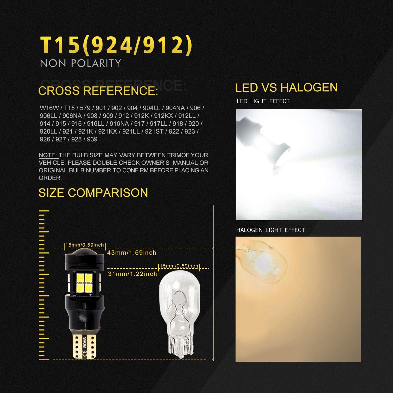 2 Pack VehiCode Super Bright White 921 LED Reverse Light Bulb 906 912 916 922 579 W16W T15 Wedge Base 6000K Daylight Replacement Kit for Car Truck Backup Reverse Cargo Trunk 3rd Brake Light Lamp