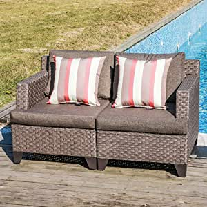 SUNSITT Outdoor Wicker Loveseat Patio Furniture with Cushions, Sofa Cover & 2 Throw Pillows Included, Dark Grey PE Wicker