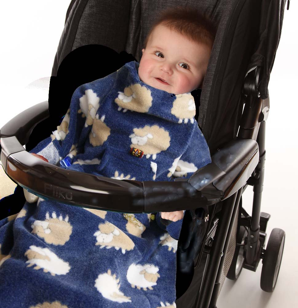 POP-ON Baby Toddler Blanket with Sleeves Soft Cuddle Fleece for Buggy Pushchair Car Seats - BLUE SHEEP Cozie Warmers