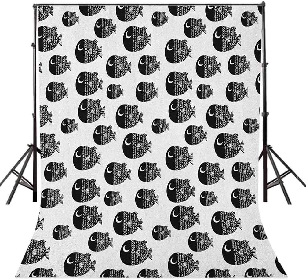 9x16 FT Fish Vinyl Photography Backdrop,Cute Ornamental Fishes Marine Scandinavian Childish Baby Playroom Kids Caricature Background for Photo Backdrop Baby Newborn Photo Studio Props