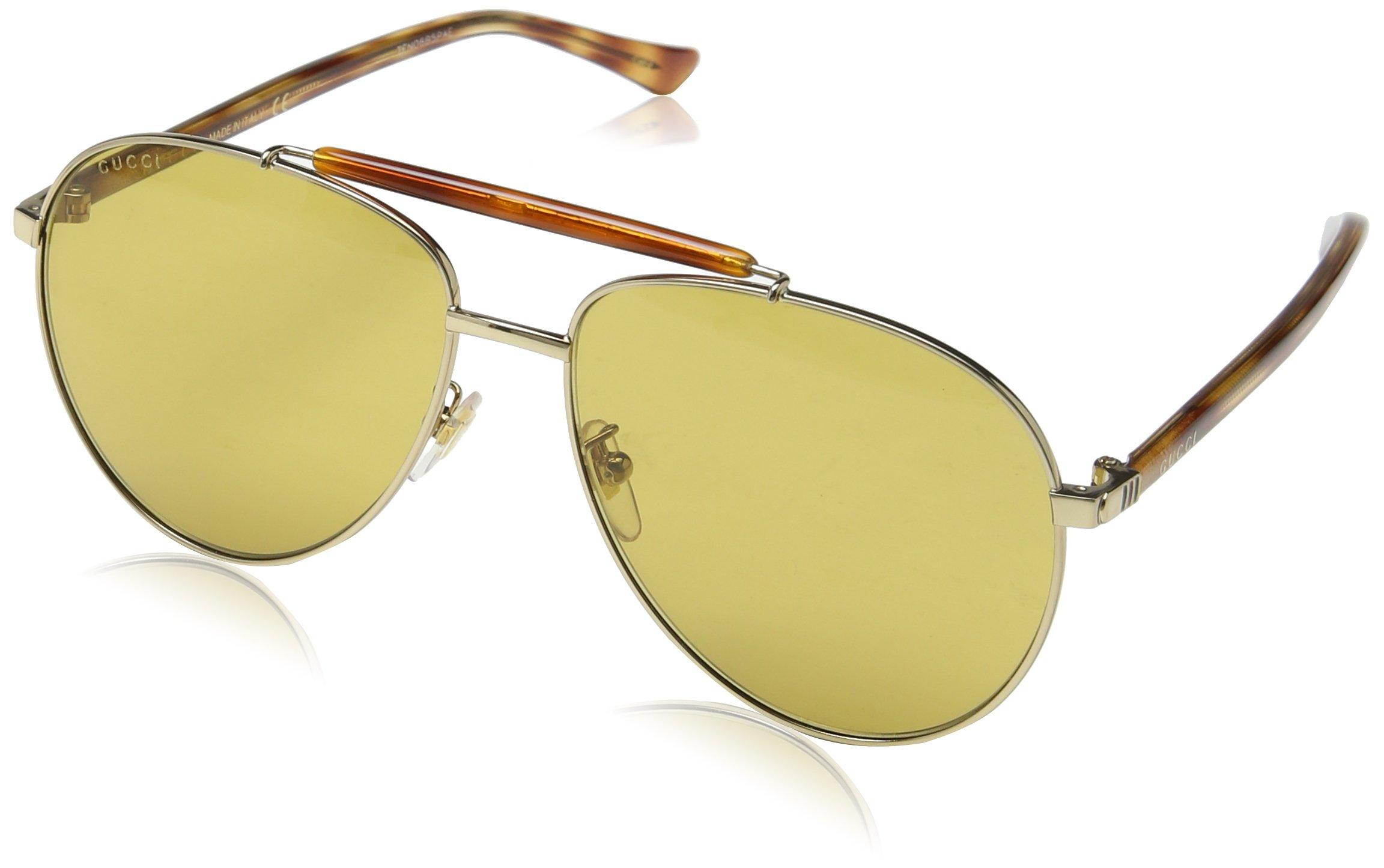 Gucci Gg0014s Fashion Sunglasses, One Size, Gold / Brown / Avana