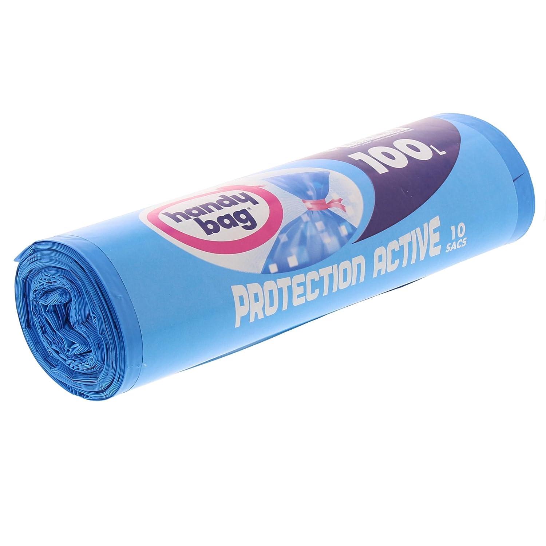 aktiver Schutz gegen Bakterien blickdicht Blau 82 x 95 cm Handy Bag Rolle mit 10 M/üllbeuteln auslaufsicher mit Bindeverschluss 100 l