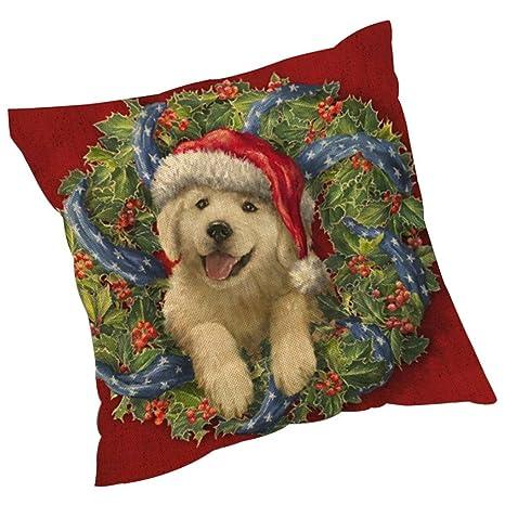 ZARU Impresión de Navidad Sofá cama cubierta de almohadas Cojín decoración del hogar (H)