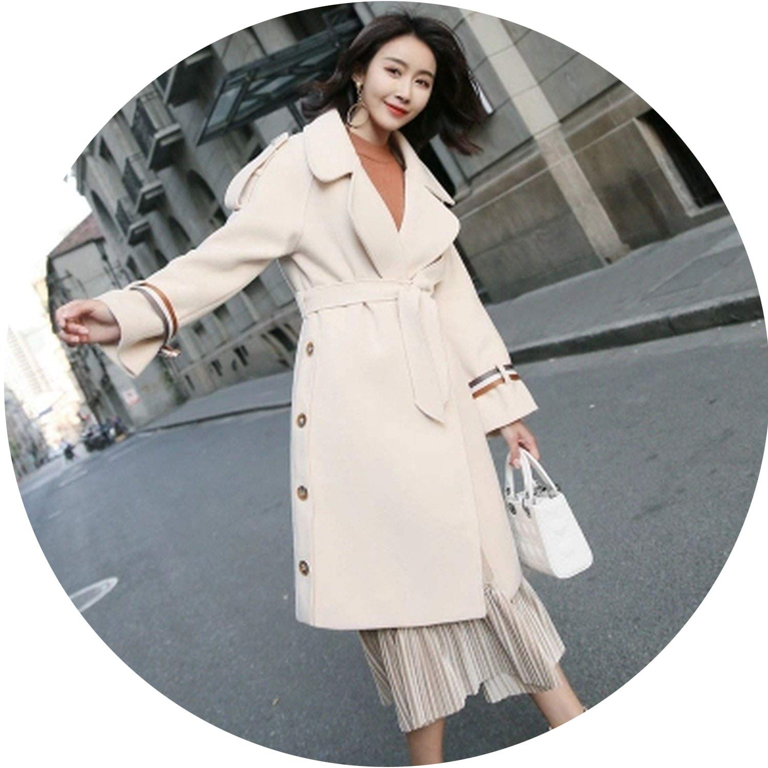 Surprise-Show Women Coats Thicken Woolen Turn-Down Collar Covered Button Long Wool Coat Rice White Overcoat