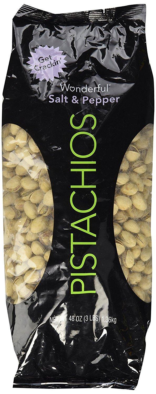 Wonderful Pistachios, Salt & Pepper Flavor, 48 Ounce (pack of 6)