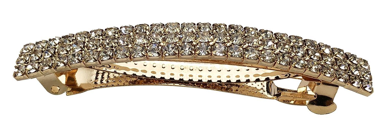 Diamante Barrette Hair Clip French Clip Spring Clip Bow Design in Gold tone 9 cm