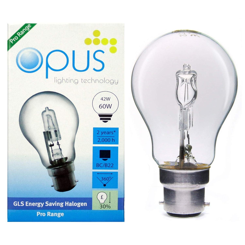 5 x OPUS 42 W = 60 W GLS BC B22 Bajonettsockel lang Life CLEAR Eco-Halogen Leuchtmittel dimmbar Energiesparend Lampen Pack Opus Lighting Technology